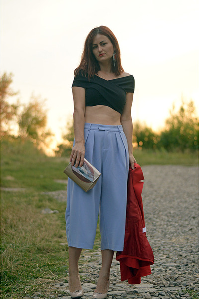 bronze milanoo bag - black milanoo top - periwinkle Front Row Shop pants
