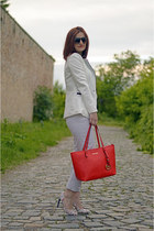 Michael Kors bag - AHAISHOPPING blazer - leather Ammauri pumps - Camaïeu pants