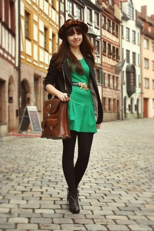 green Zara dress - leather vintage bag