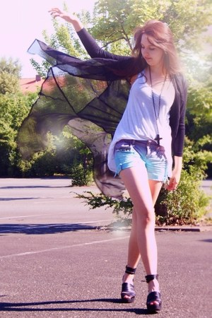 aquamarine denim shorts DIY shorts - black sheer romwe cardigan - black leather