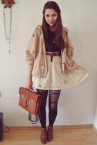 black sheer Romwecom tights - brown leather vintage bag - dark khaki camel Romwe