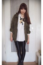 army green green H&M jacket - black wetlook nolita leggings - light pink cotton