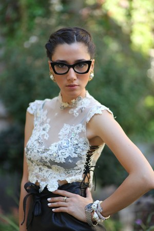 Uterque earrings - asos sunglasses - leather skirt H&M skirt - Longines watch