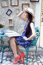 red miniprix sandals - blue Zara dress - mustard H&M hat