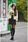 Black-leather-bronx-boots-black-polka-dots-river-island-dress