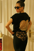 black vintage sunglasses - heart by eugenia enciu skirt - heart by eugenia enciu