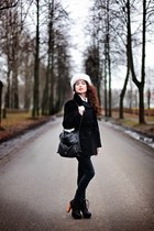 white rabbit fur hat - black Bik Bok boots - black pull&bear jeans