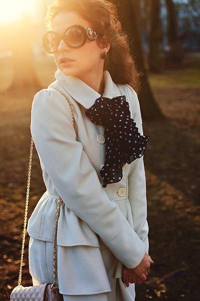 ivory ruffled Bik Bok jacket - navy polka-dot no brand scarf
