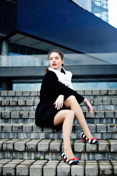 black silk H&M dress - black wool no brand coat - white no brand scarf