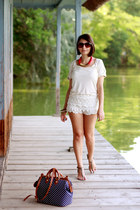 lace white Zara shorts - dotted pull&bear bag - pink gold Stradivarius necklace