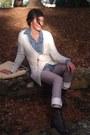 Periwinkle-pleather-bcbg-max-azria-leggings-white-forever-21-cardigan