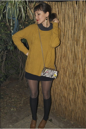 mustard Forever 21 sweater - black Express dress - camel Forever 21 heels