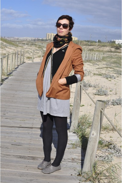 Zara shoes - Zara dress - Primark jacket - vintage scarf - Lacoste cardigan