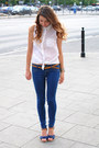 Navy-bershka-pants-blue-secondhand-heels-white-bershka-blouse