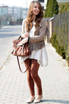 beige Bershka jacket - white H&M sweater - brown H&M bag - bronze Bershka pants