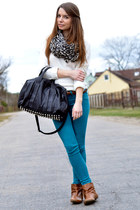 black Mango bag - light brown Stradivarius boots - ivory H&M sweater