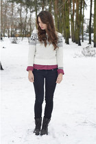 white knitted F&F sweater - black Zara boots - maroon Bershka blouse
