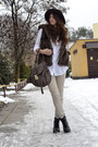 White-reserved-blouse-black-deichmann-boots-dark-brown-bershka-hat