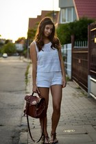 brown Zara bag - white Secondhand shorts - dark brown Tally Weijl sandals