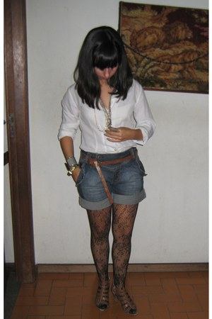 Calzedonia tights - Zara shoes - Vintage costume blouse - Zara belt
