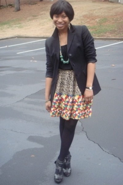 blazer - shirt - skirt - necklace - stockings - shoes