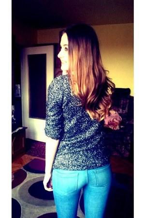Zara boots - black H&M jacket - metallic shine Zara sweater