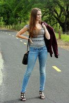 tribal Charlotte Russe bodysuit - maroon H&M blazer - DKNY bag