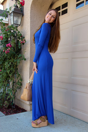 blue Forever 21 dress - camel calvin klein bag - camel Urban Outfitters wedges
