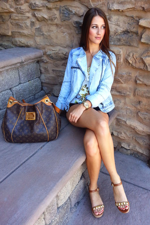 sky blue denim Zara jacket - brown Louis Vuitton bag - brown Michael Kors wedges