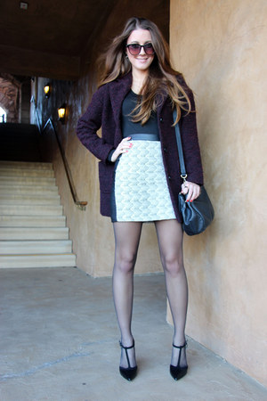 cream H&M skirt - deep purple H&M coat - black DKNY bag
