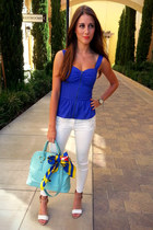 blue Love Culture top - sky blue Ivanka Trump bag - white H&M pants