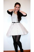 ivory spotty H&M dress - black unknown tights - black Primark belt