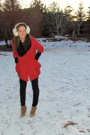 red tonic jacket - light brown Zara boots