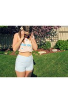 light blue thrifted vintage shorts