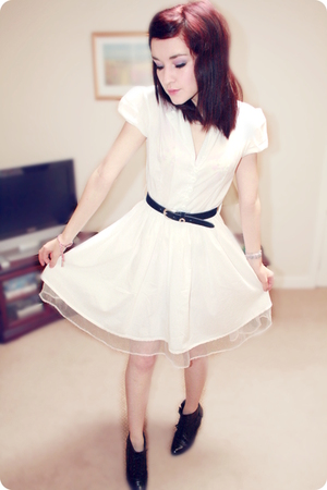 white Love dress - black Office boots - blue vintage belt