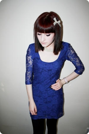 blue lace H&M dress - black vintage boots - blue denim Primark jacket