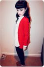 Red-cardigan-white-vintage-shirt-black-h-m-jeans-brown-primark-shoes