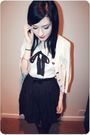 Black-primark-dress-white-h-m-cardigan-black-office-boots