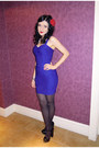 Blue-bodycon-new-look-dress-black-platform-zara-heels-spike-topshop-necklace