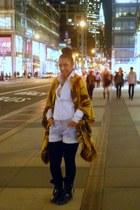 ethnic print Forever 21 cape - Steve Madden boots - striped Ralph Lauren shirt