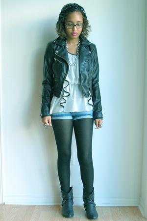 H&M jacket - Costa Blanca blouse - Zara shorts - Spring boots