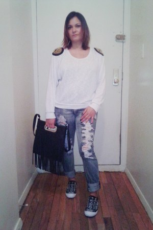 silver slip ons coach sneakers - black fringe Accessorize bag
