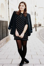 Black-vintage-dress-navy-primark-blazer-black-primark-bag