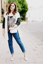 light blue Aldo shoes - blue Cheap Monday jeans - white Aldo bag