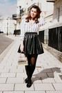 White-ralph-lauren-shirt-gold-vintage-bag-black-primark-skirt