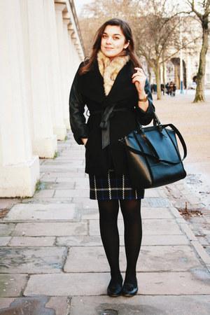 camel vintage scarf - black Primark coat - blue vintage skirt