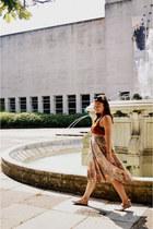 orange vintage skirt - nude Golden Ponies shoes - white Aldo bag