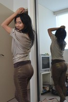 brown H&M top - gold Satch top - gold rats sass & bide leggings