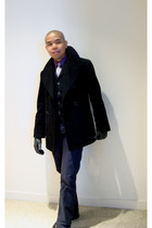 black vintage jacket - purple DKNY shirt - black Keanan Duffty for Target vest -