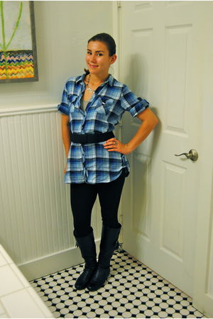 blue kohls shirt - black Forever 21 belt - black Walmart leggings